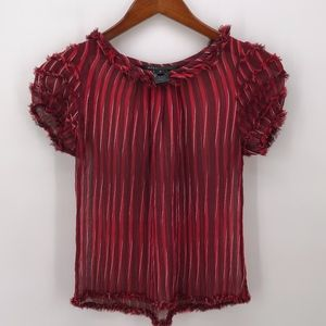 Marc Jacobs Red Striped Sheer Silk Raw Hem Blouse
